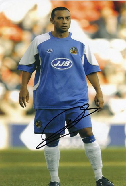 Denny Landzaat, Wigan Athletic, signed 12x8 inch photo.